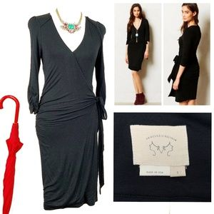 Anthro Vanessa Virginia Black Wrap Dress Sz S